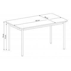 Wymiary stółu BASIC BL140 jackson hickory/grafit