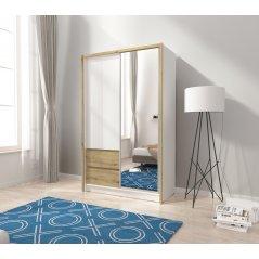 Szafa SARA 130 cm biały/dąb artisan mat