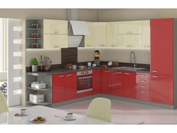 Kuchnia modułowa kremowo - czerwona - Excellence - internetowy sklep