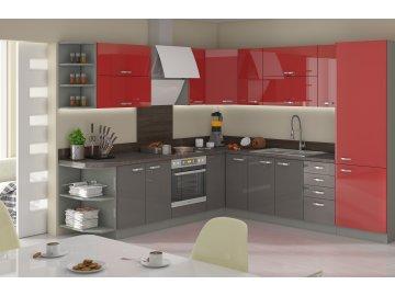 Kuchnia modułowa czerwono - szara - Excellence sklep meblowy karuzela