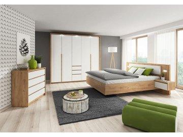 Kolekcja mebli do sypialni Xelo dąb craft złoty/biały