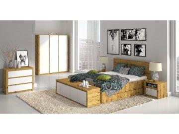 Kolekcja mebli do sypialni Maltańczyk dąb artisan/biały mat