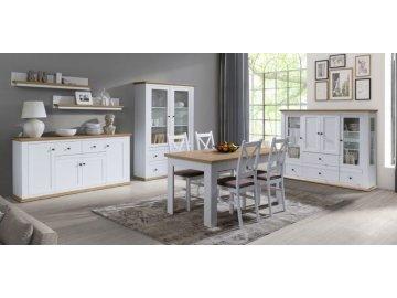 Białe pokojowe meble systemowe Mezo | meble do salonu