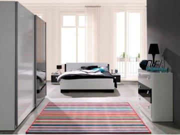 Nowoczesne meble do sypialni w połysku Lux kolor biały/czarny