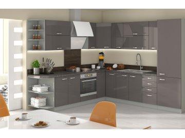 Tanie modułowe meble kuchenne Excellence szary połysk ✓