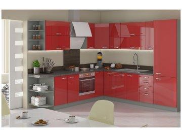 Modułowe meble kuchenne z systemu Excellence w kolorze czerwonym